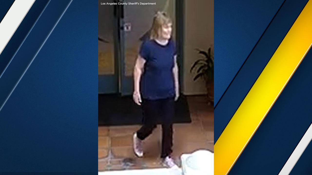 Susan Leeds, 66, captured on video surveillance prior to her fatal stabbing attack at a Rolling Hills Estates mall on Thursday May 3, 2018.