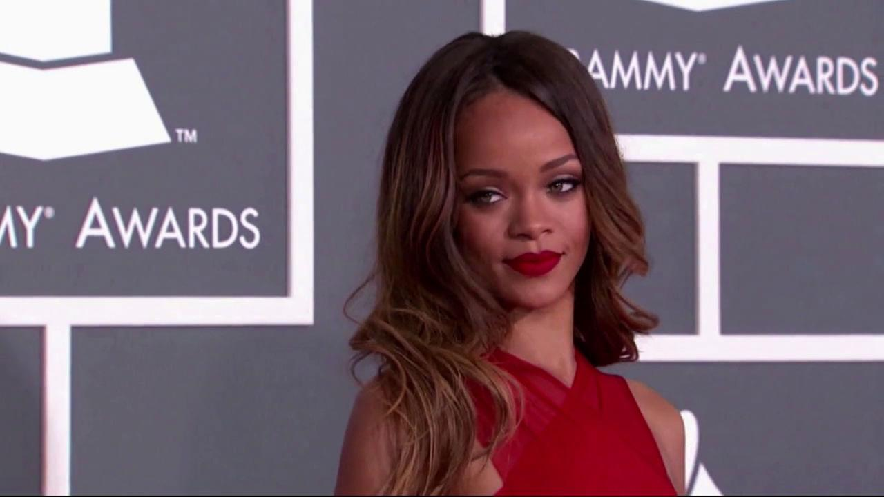 Singer Rihanna appearing at the Grammy Awards in Los Angeles on Feb. 10, 2013.