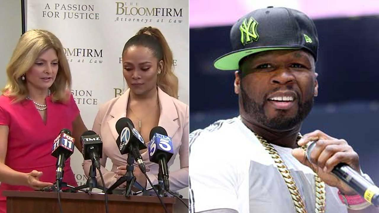 (Left) Teairra Mari and her attorney Lisa Bloom appear at a news conference Thursday, May 17, 2018. (Right) Rapper 50 Cent is seen in an undated photo.