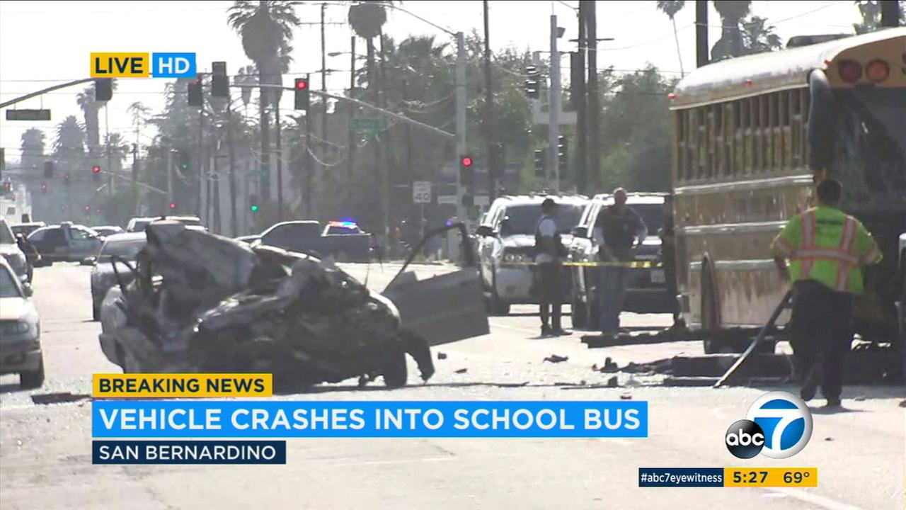 The scene of a crash where a female chase suspect in a stolen vehicle hit a school bus in San Bernardino on Friday, May 18, 2018.