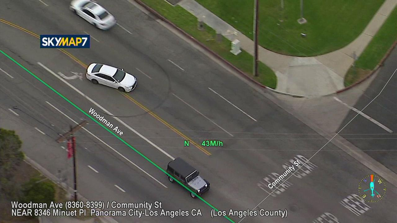 A newer model white Toyota Camry traveled at high speeds through surface streets in North Hollywood and surrounding areas on Monday, May 21, 2018.