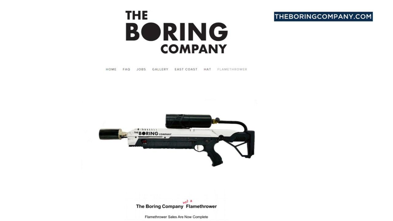 The Boring Companys not a flamethrower is shown on its website.