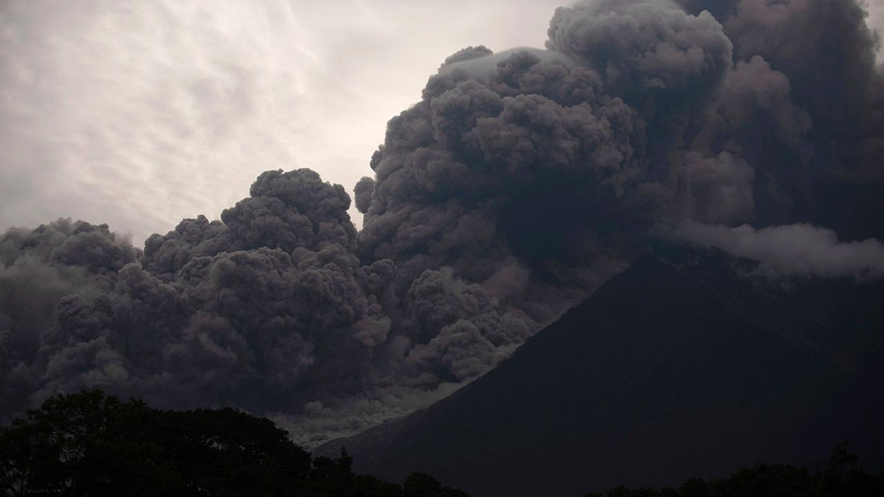 Volcan de Fuego blows out a thick cloud of ash on Sunday, June 3, 2018.