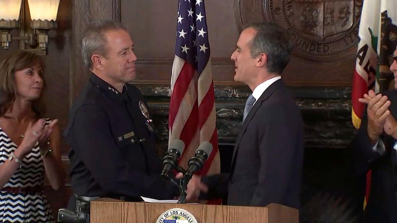 Mayor Eric Garcetti has named Assistant Chief Michel Moore to be the next Los Angeles police chief.