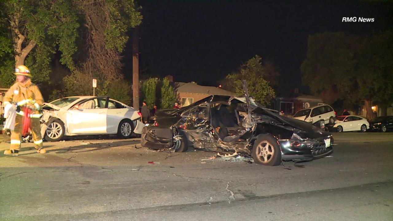 Multiple vehicles were damaged in a crash on a Reseda Street on Wednesday, June 6, 2018.
