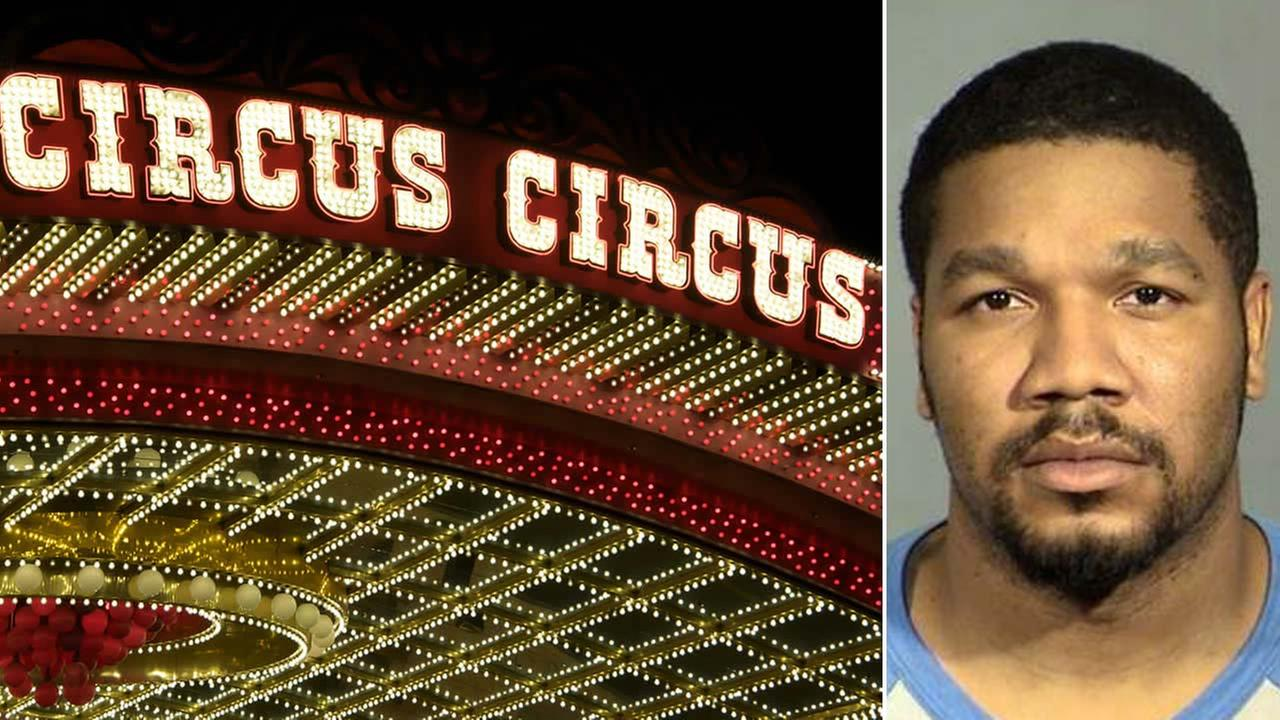 (Left) The entrance to the Circus Circus Hotel and Casino in Las Vegas is seen on Jan. 1, 2010. (Right) A February 2017 booking photo from Las Vegas police shows Julius Trotter.