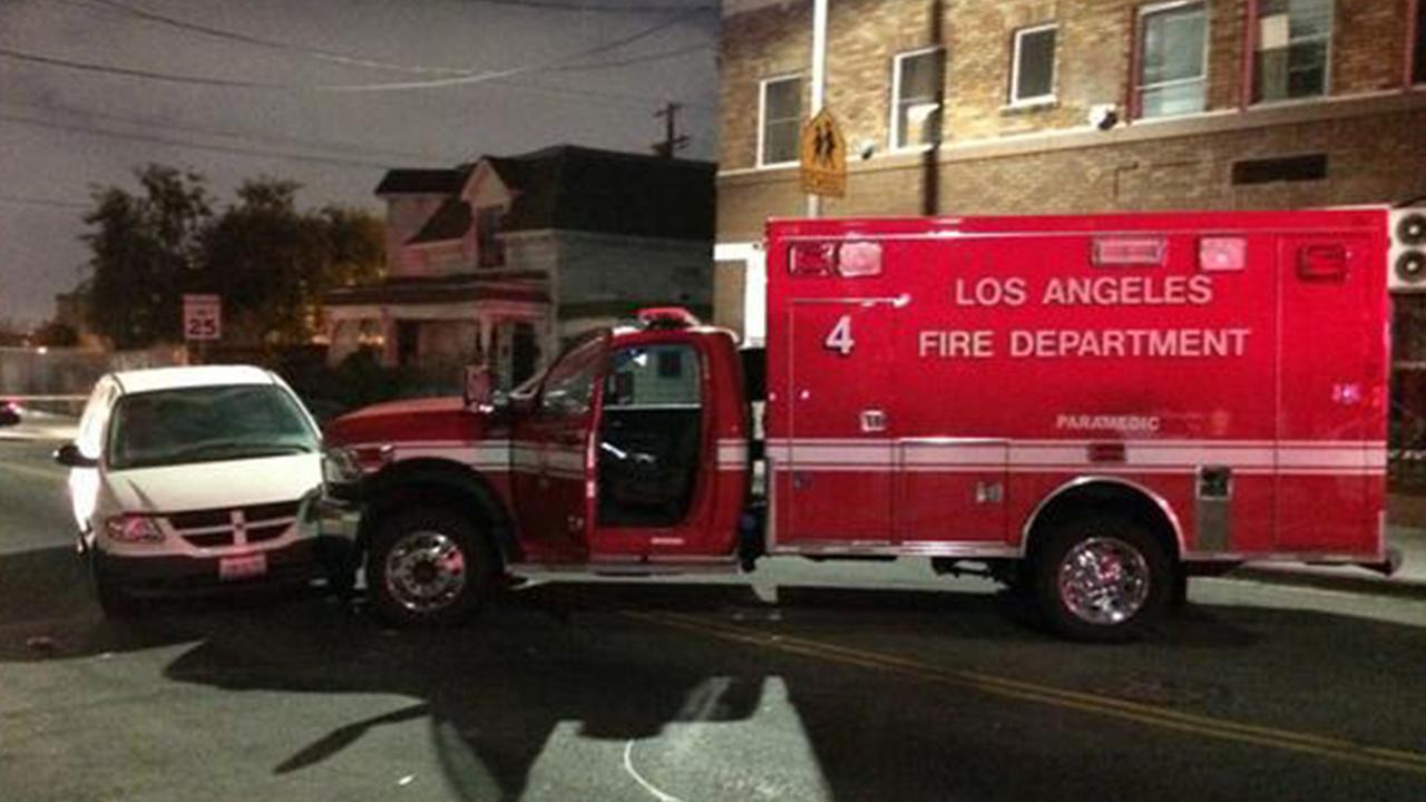 A stolen ambulance that led authorities on a pursuit Sunday, Oct. 19, 2014 is shown.