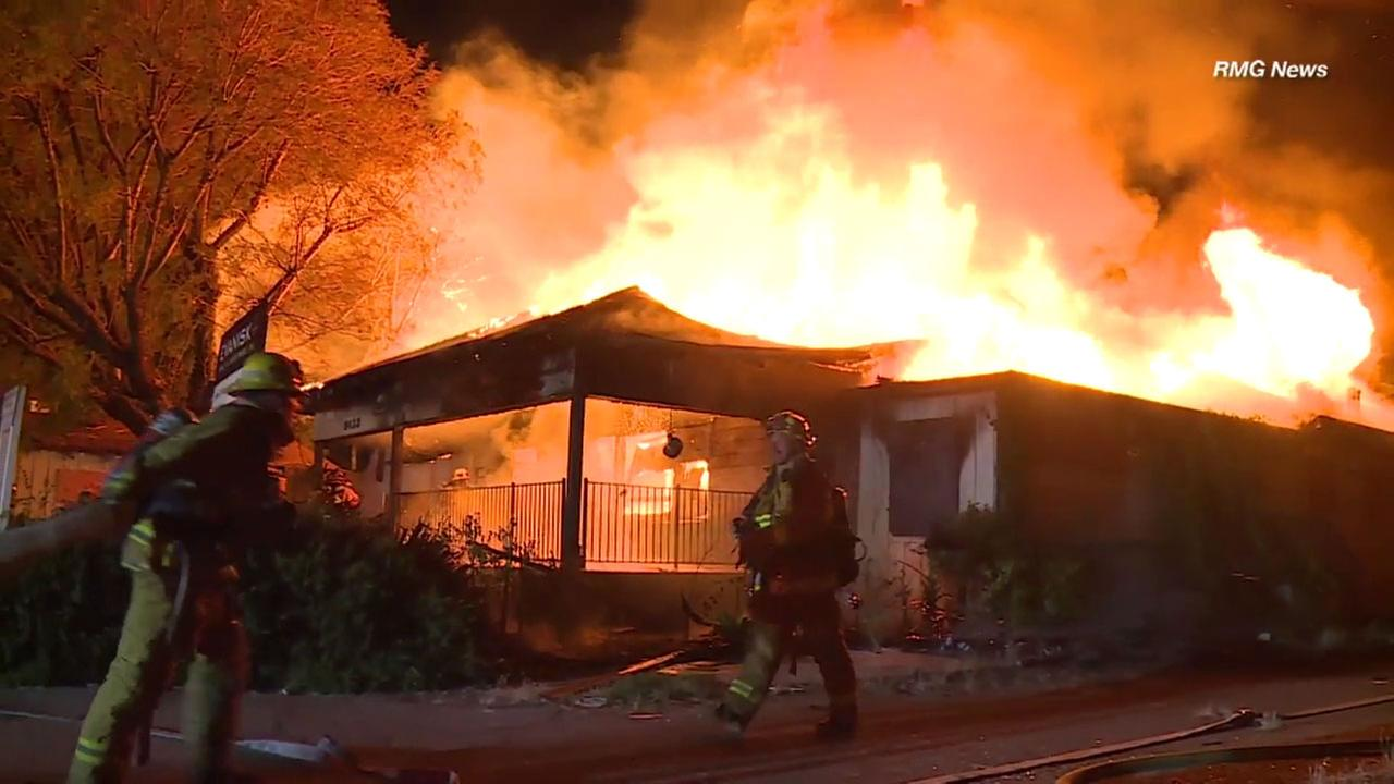 A fire ripped through a vacant home in North Hills that had also been damaged by a previous blaze, fire officials said.
