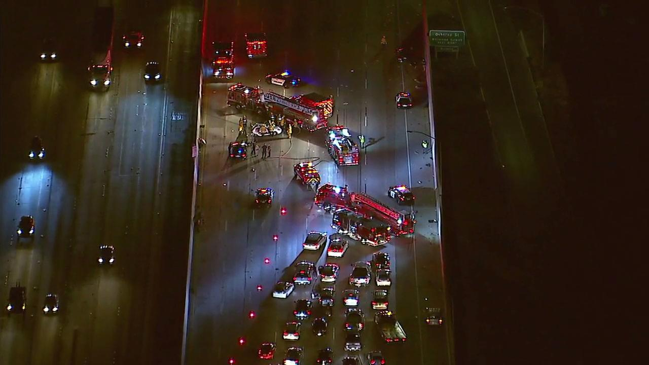 Two people were killed in a multi-vehicle collision on the 5 Freeway in the northeast San Fernando Valley, officials said.