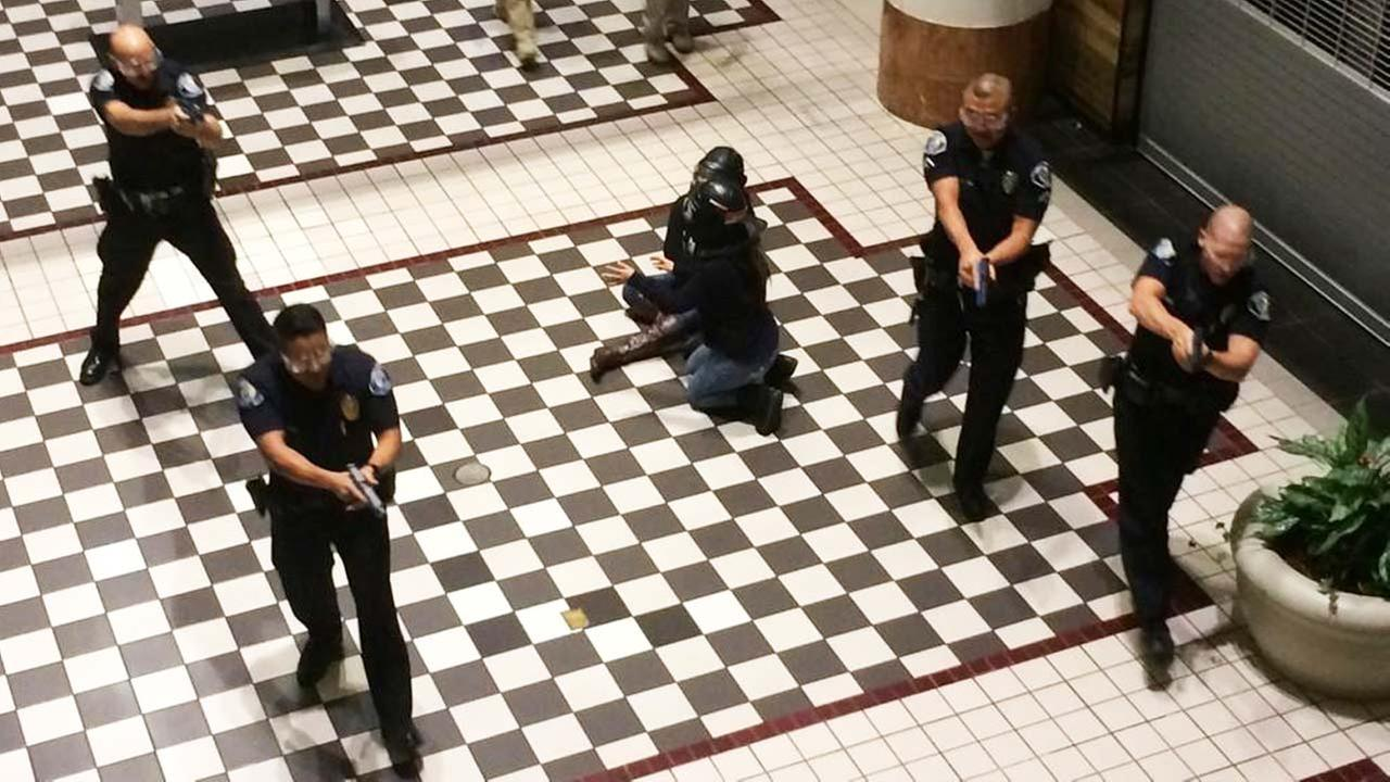 An active-shooter drill was held at the Westfield MainPlace mall in Santa Ana on Wednesday, Oct. 22, 2014.