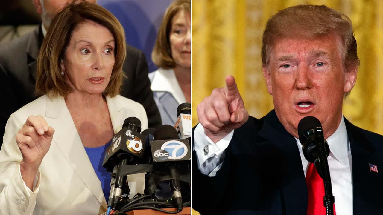 (Left) Nancy Pelosi speaks during a visit to the border Monday, June 18, 2018, in San Diego. (Right) President Donald Trump speaks at the White House on Saturday, June 23, 2018.