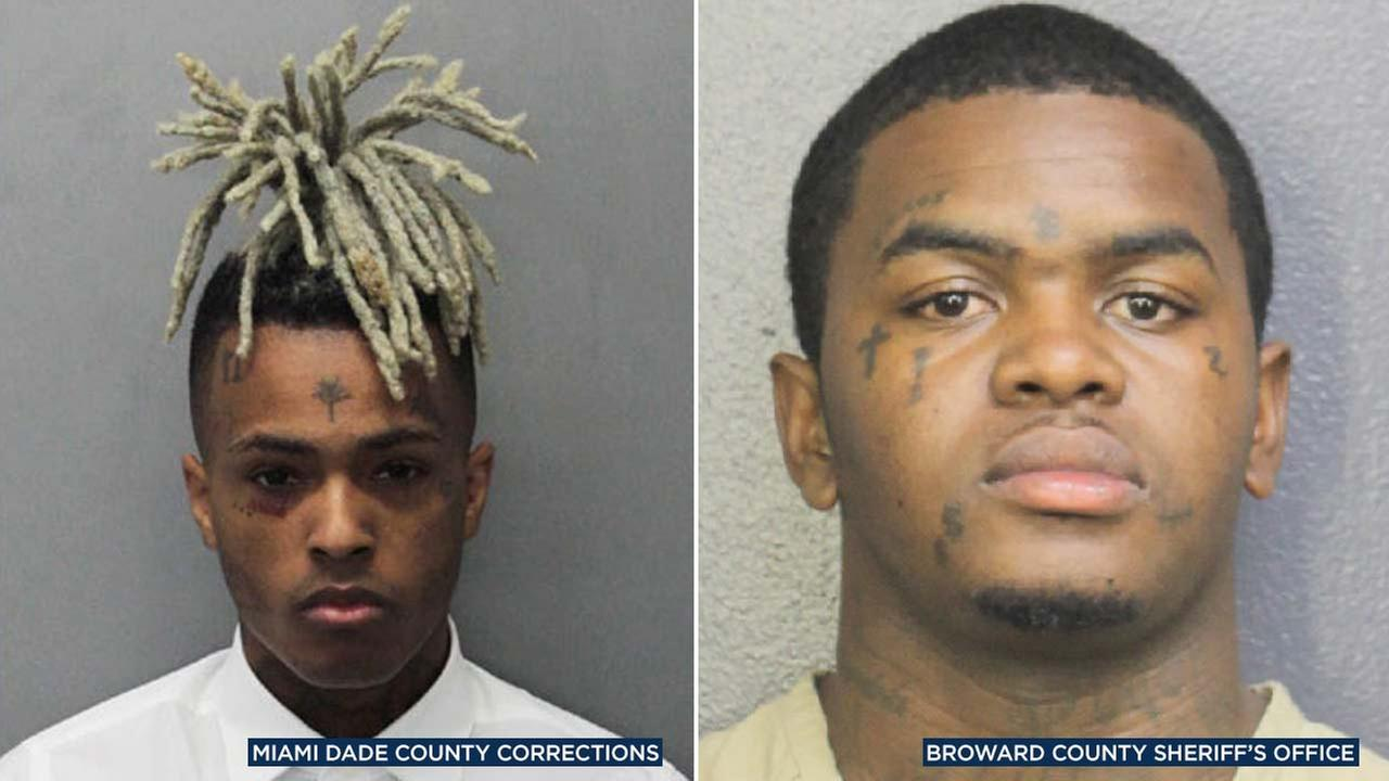 (Left) Jahseh Onfroy, known as XXXTentacion, in a photo from the Miami-Dade County Corrections Office. (Right) DeDrick Williams in a photo from the Broward County Sheriffs Office.