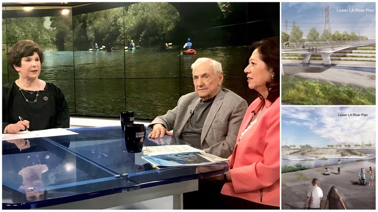 Eyewitness Newsmakers host Adrienne Alpert is shown alongside L.A. County Supervisor Hilda Solis and architect Frank Gehry.