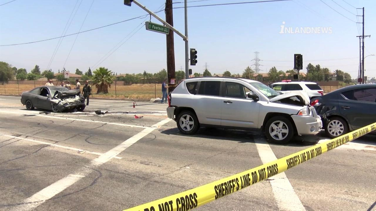 A woman is dead after police say she led them on a short, high-speed chase in Rancho Cucamonga before crashing into other vehicles.