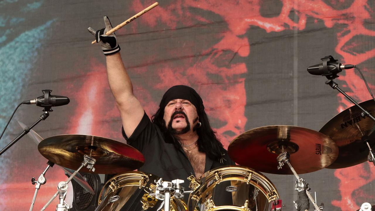 Vinnie Paul of the band Hellyeah performs in concert during Day 2 of the Rock Allegiance Festival at Talen Energy Stadium on Sunday, Sept. 18, 2016, in Chester, Pa.