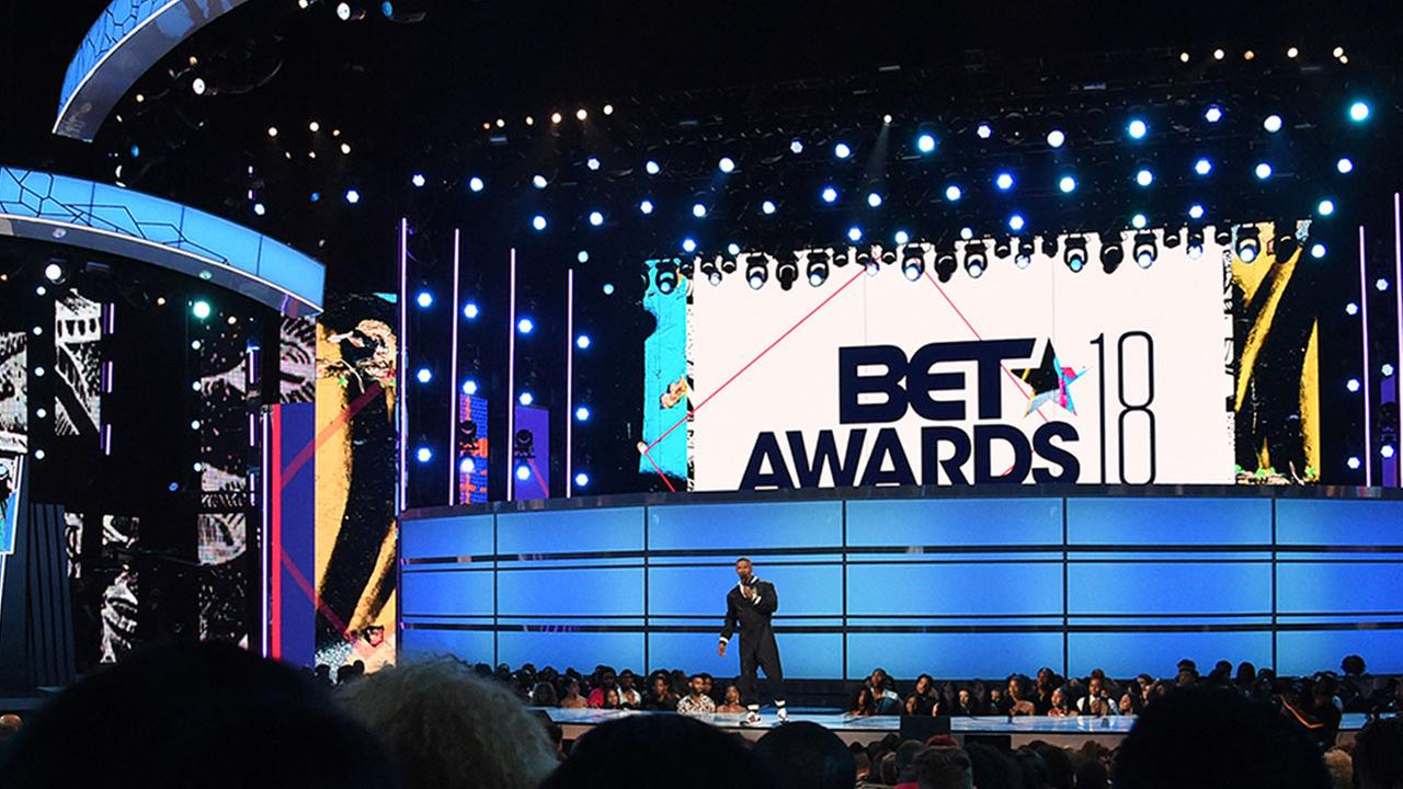 Host Jamie Foxx speaks at the BET Awards at the Microsoft Theater on Sunday, June 24, 2018, in Los Angeles.