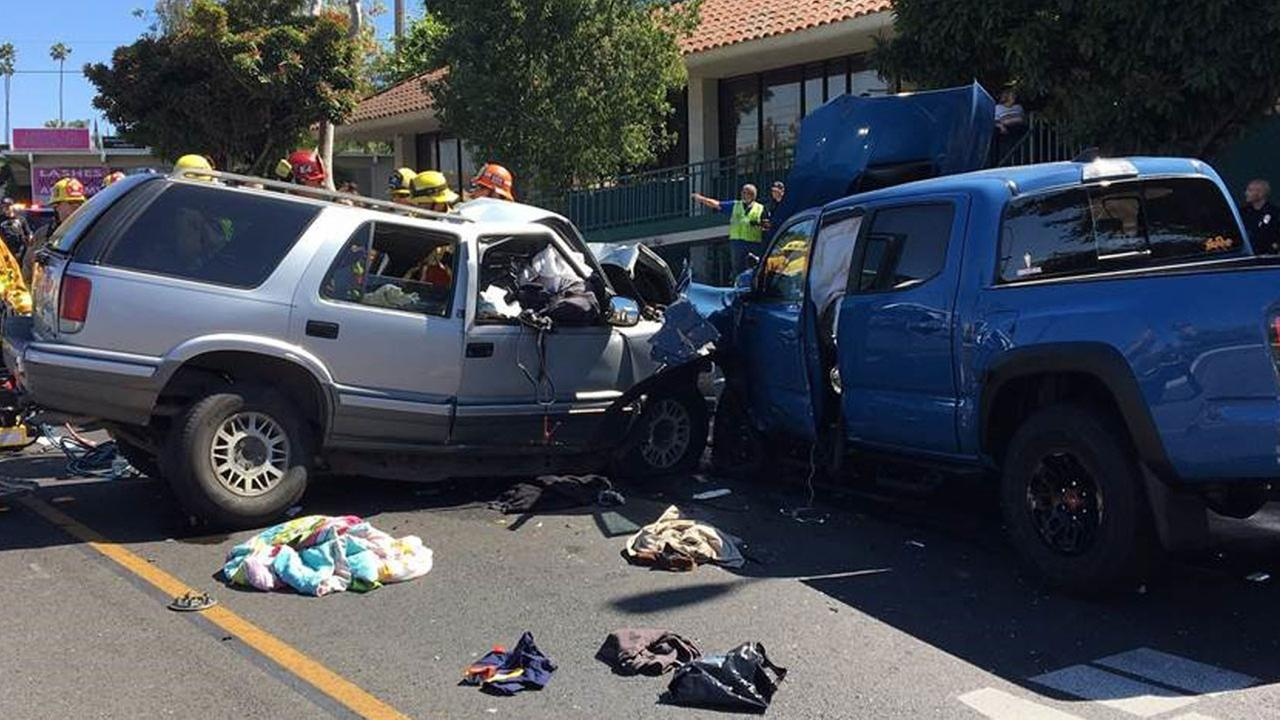 Fullerton police tweeted out images of a fatal car crash that shut down a street in the area for at least six hours on Monday, June 25, 2018.