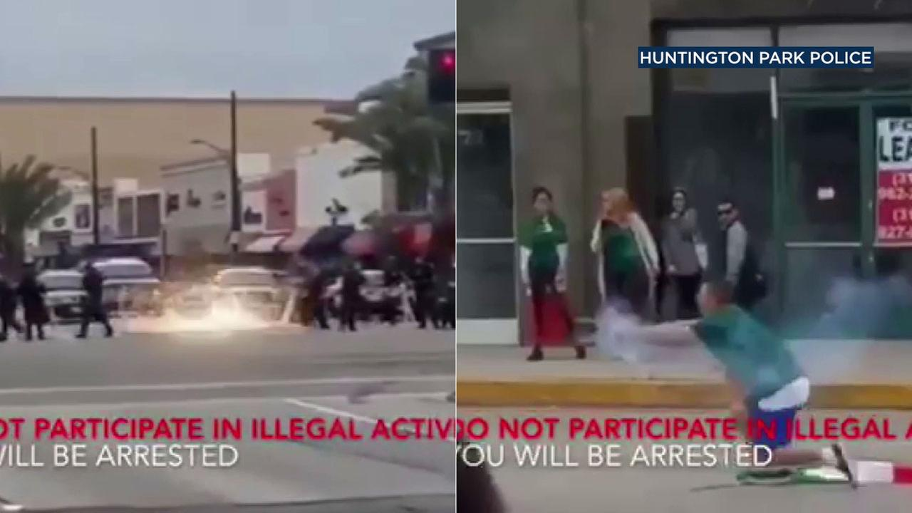 Video released by Huntington Park police shows a man shooting fireworks at officers during a World Cup celebration.