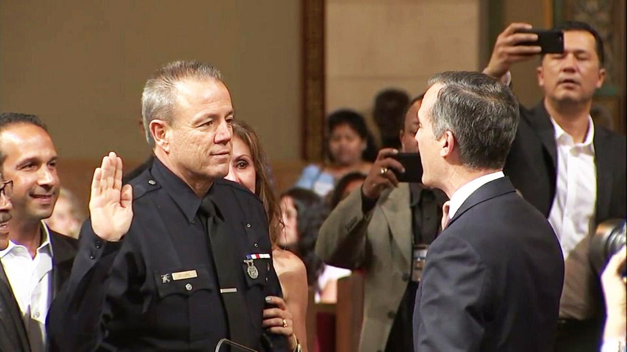 LAPD Chief Michel Moore is officially sworn in as the head of the police department on Wednesday, June 27, 2018.
