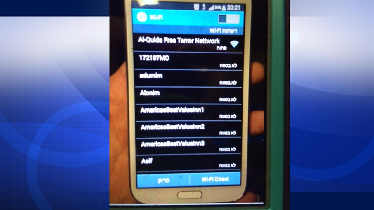 A photo shows a WiFi hotspot named Al-Quida Free Terror Network that a passenger saw at LAX on Sunday, Oct. 26, 2014.