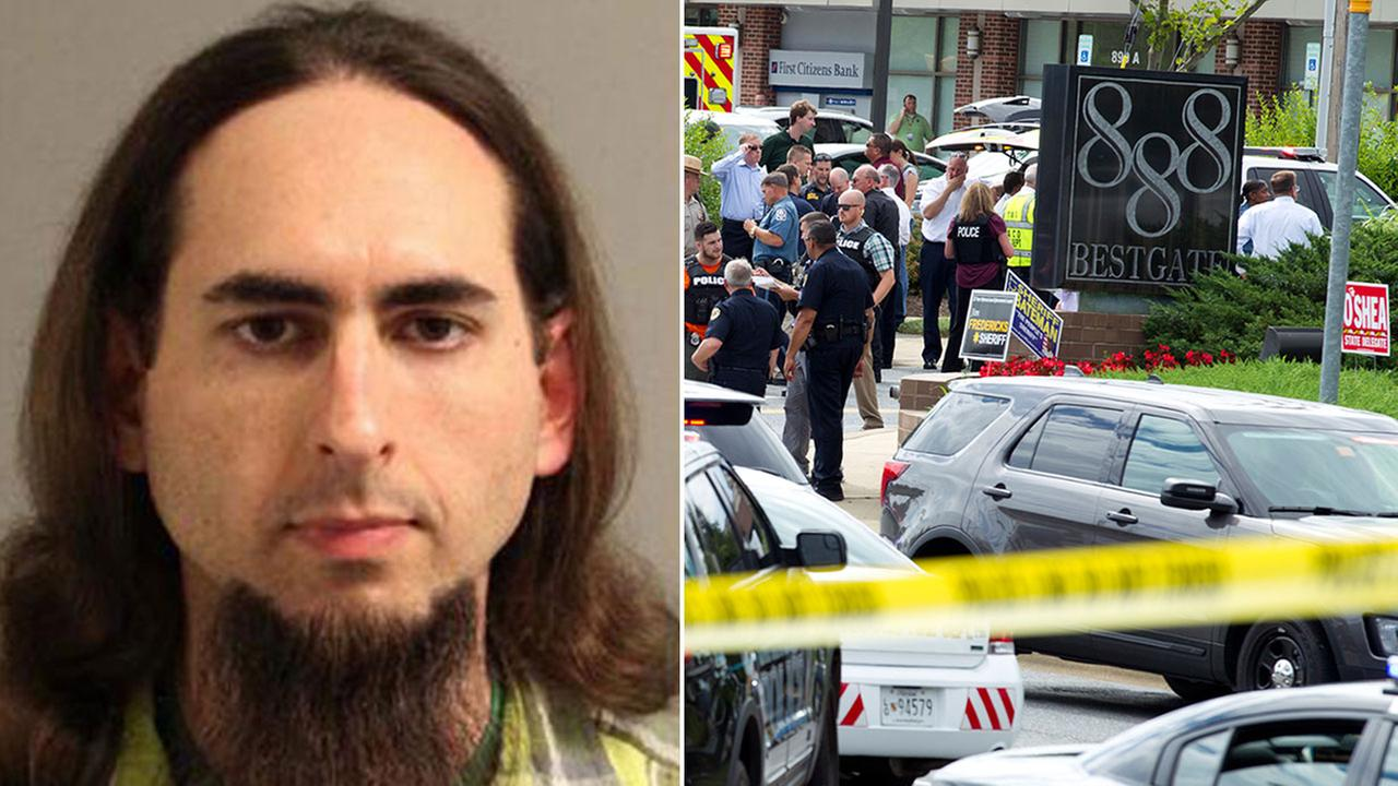 Jarrod Ramos (left). Authorities stage at the office building entrance after people were shot at The Capital Gazette newspaper in Annapolis Thursday, June 28, 2018 (right).