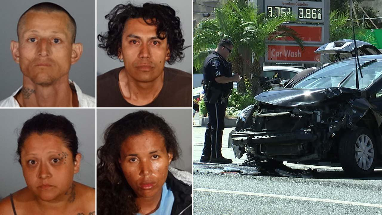 (Left: L-R) Joseph Gutierrez, Jonathan Rendon, Grecia Carrillo, Carmen Raphael. (Right) A wrecked car is seen at the end of a chase on Monday, July 2, 2018.