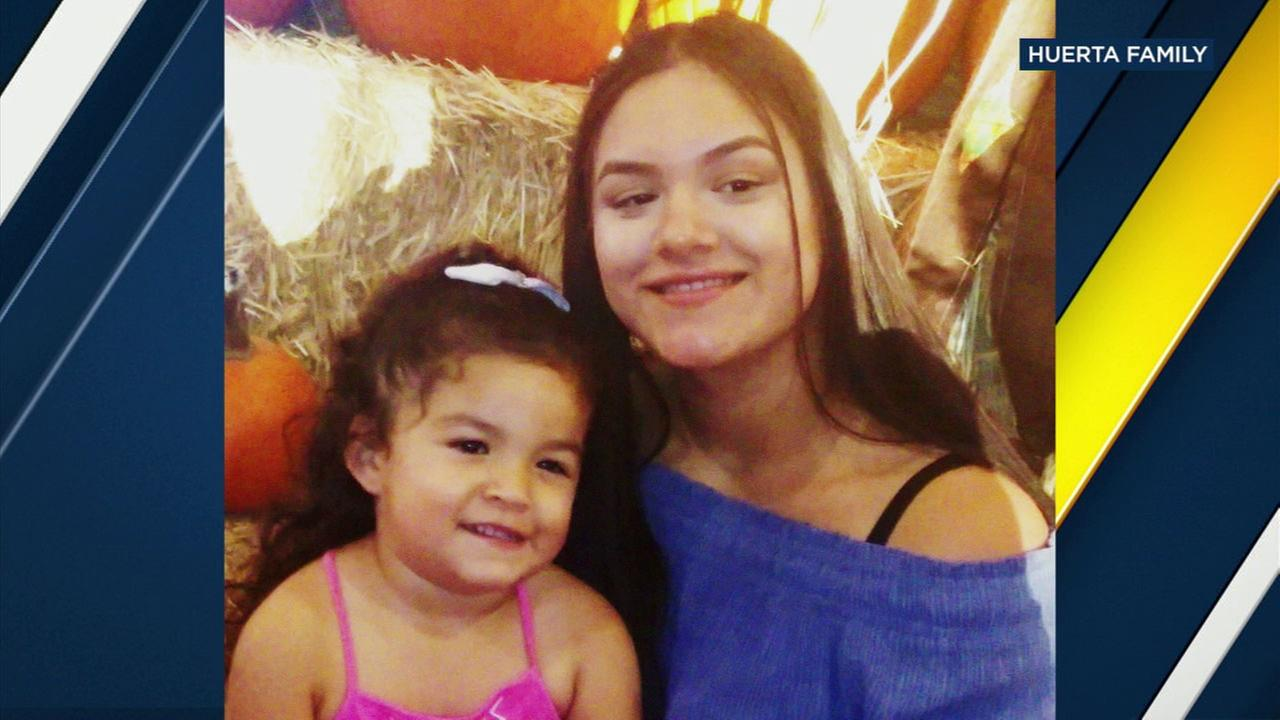 Kayla Huerta, 17, is shown in a photo with her 3-year-old daughter.