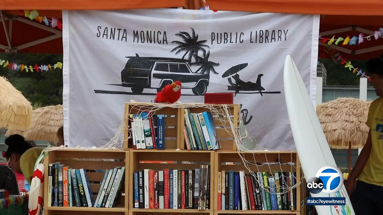 Santa Monica brought a pop-up library to the Annenberg Community Beach House.