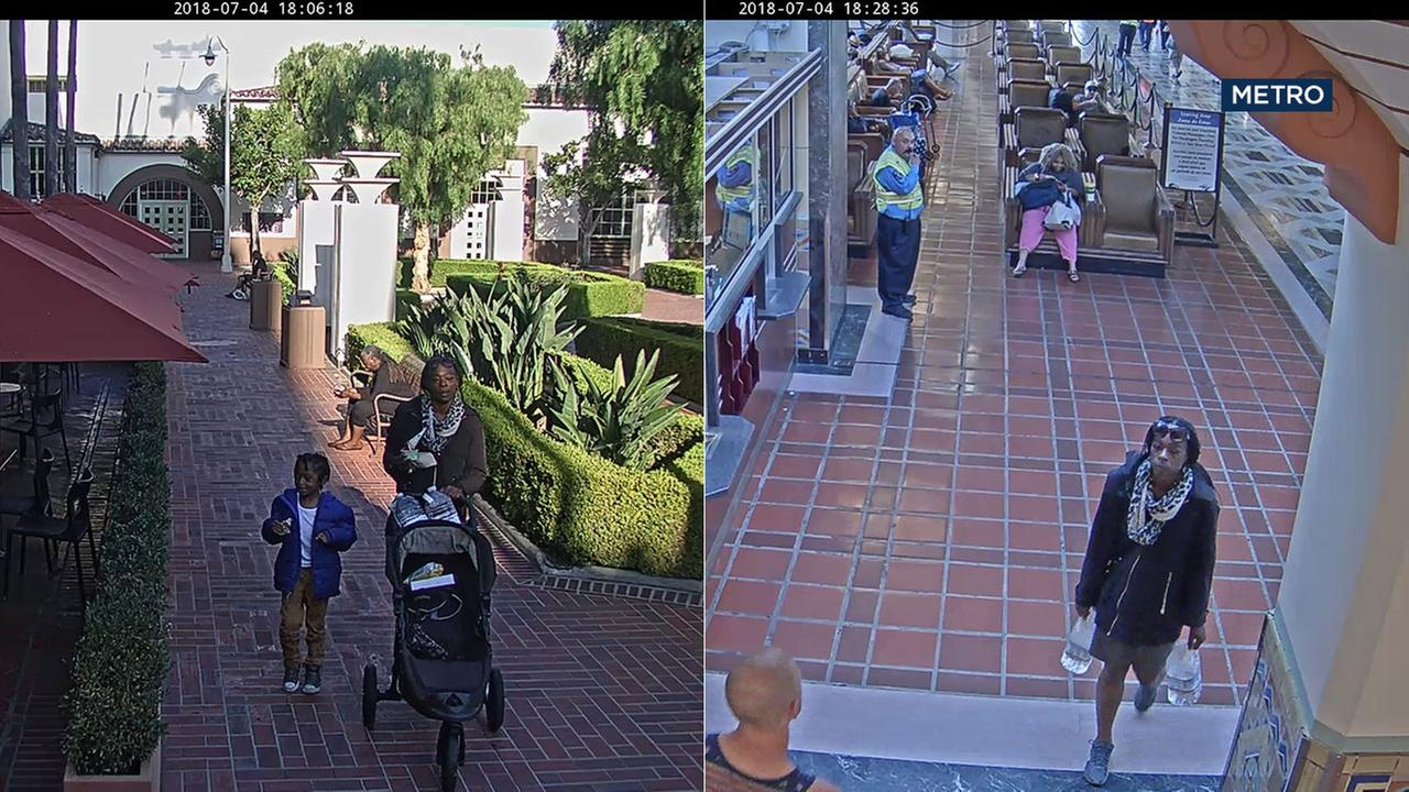 Surveillance video released by Metro shows a woman with a child at Union Station and then walking by herself about 22 minutes later on Wednesday, July 4, 2018.
