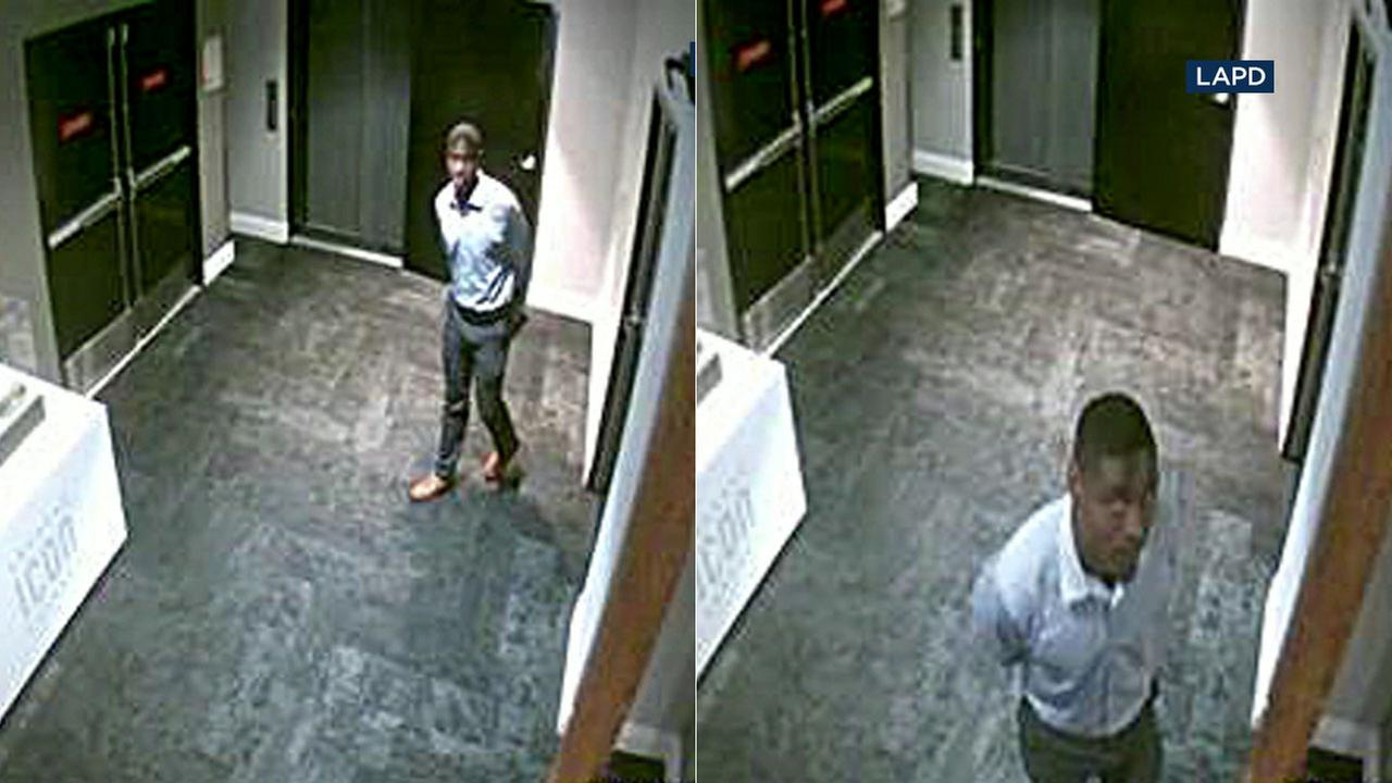 Surveillance video shows a suspected burglar who walked into entertainment offices in Hollywood and made off with laptops and other valuables.