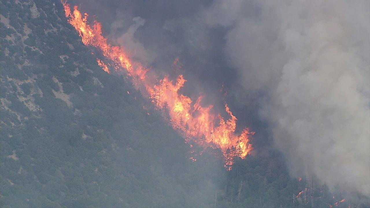 Flames rip through trees in the San Bernardino mountains amid temperatures in the triple digits.