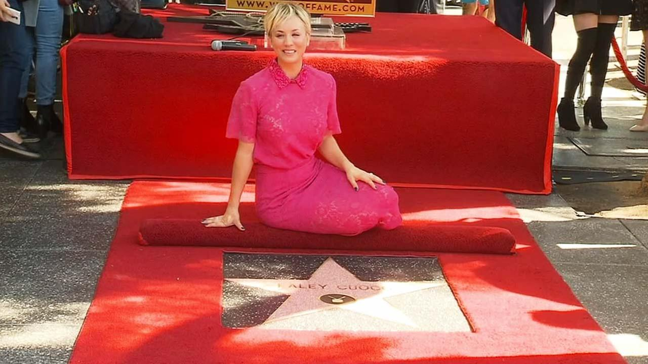 Kaley Cuoco attends the ceremony honoring her with a star on The Hollywood Walk of Fame on Wednesday, Oct. 29, 2014, in Los Angeles.
