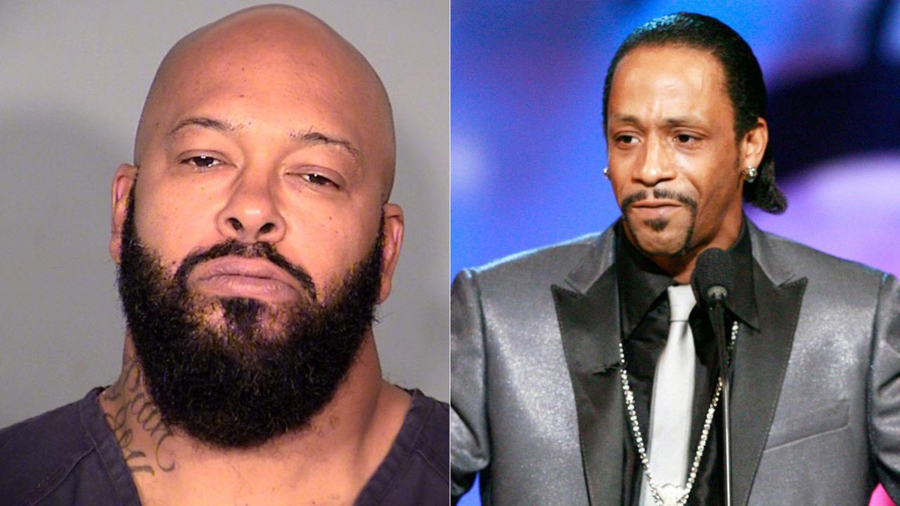 Suge Knight LVPD 10/29/14 booking photo (L); Katt Williams undated file photo (R)