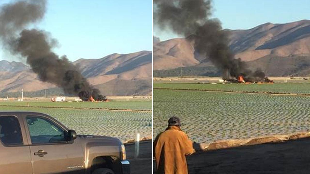 The pilot of a Hawker Hunter military aircraft died after crashing near a base in Port Hueneme Wednesday, Oct. 29, 2014.
