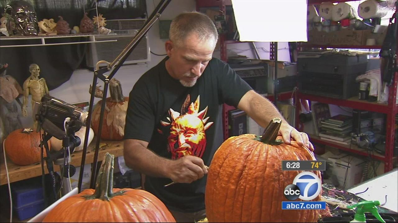 A well-known Hollywood sculptor is turning pumpkin carving into a true art form. Jon Neil is taking the Halloween tradition to a new level with his incredibly creepy creations.