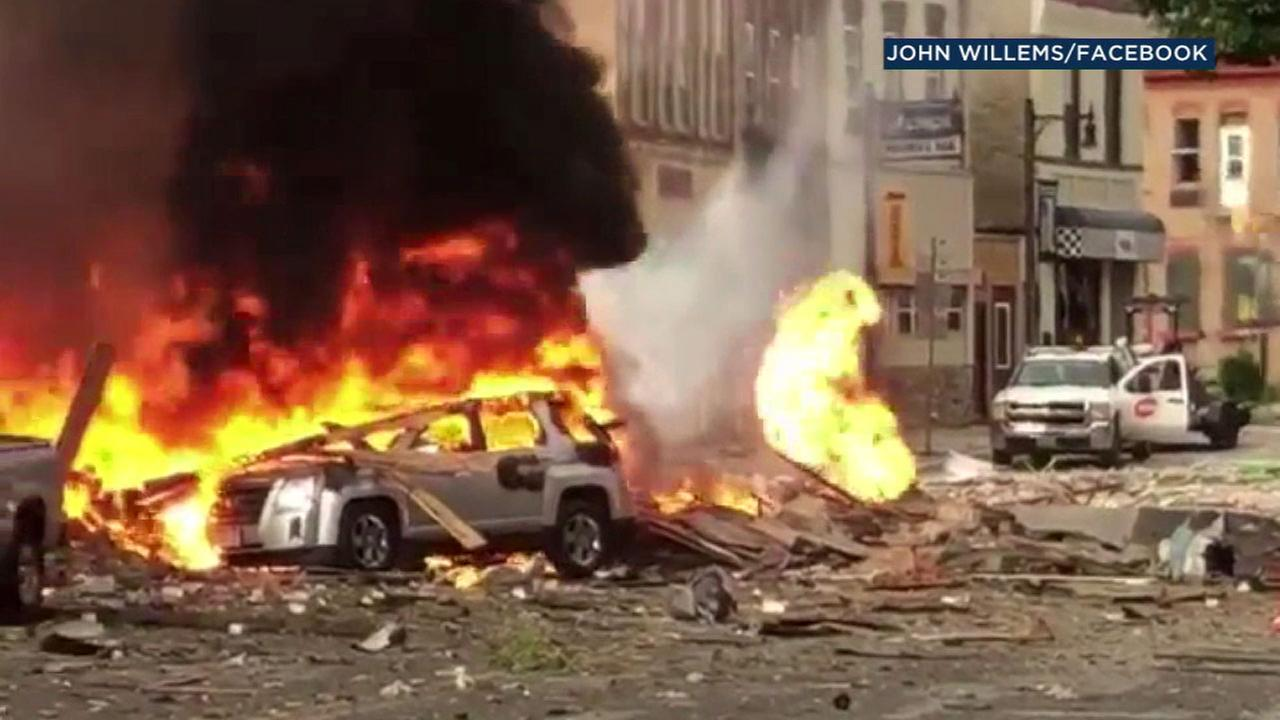 An explosion rocked the downtown area of a suburb of Madison, Wisconsin, after a contractor struck a natural gas main Tuesday.