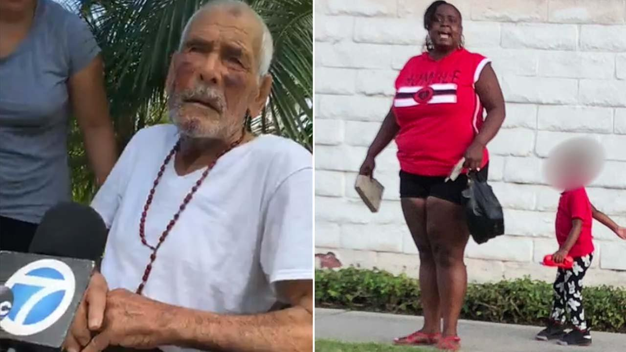 (Left) Rodolfo Rodriguez speaks to Eyewitness News in an interview Wednesday, July 11, 2018. (Right) A witness captured this image of Laquisha Jones, accused of beating Rodriguez.