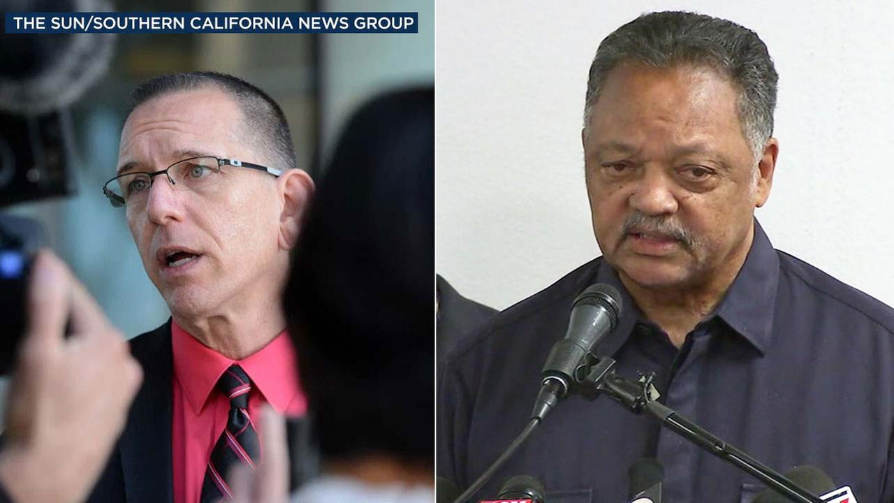 Rev. Jesse Jackson (right) calls for the disbarment of San Bernardino County Deputy District Attorney Michael Selyem (left).