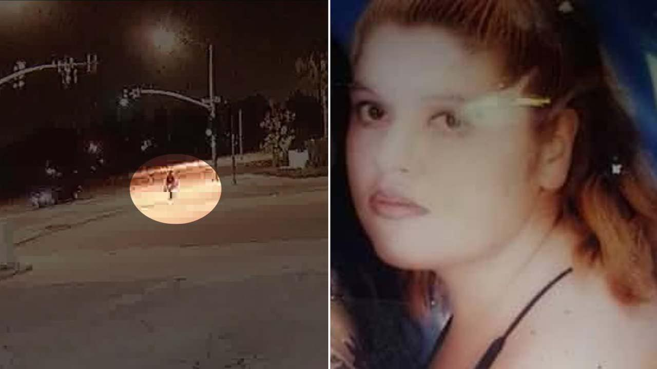 Maribel Gonzalez, (R) seen in a photo released by family members, was fatally struck in a hit-and-run crash (L), captured in surveillance video.