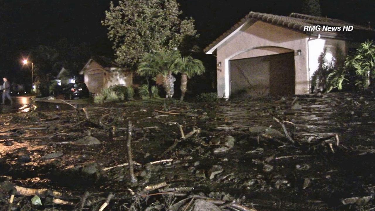 Debris from a mudslide is seen in a Camarillo neighborhood on Saturday, Nov. 1, 2014.