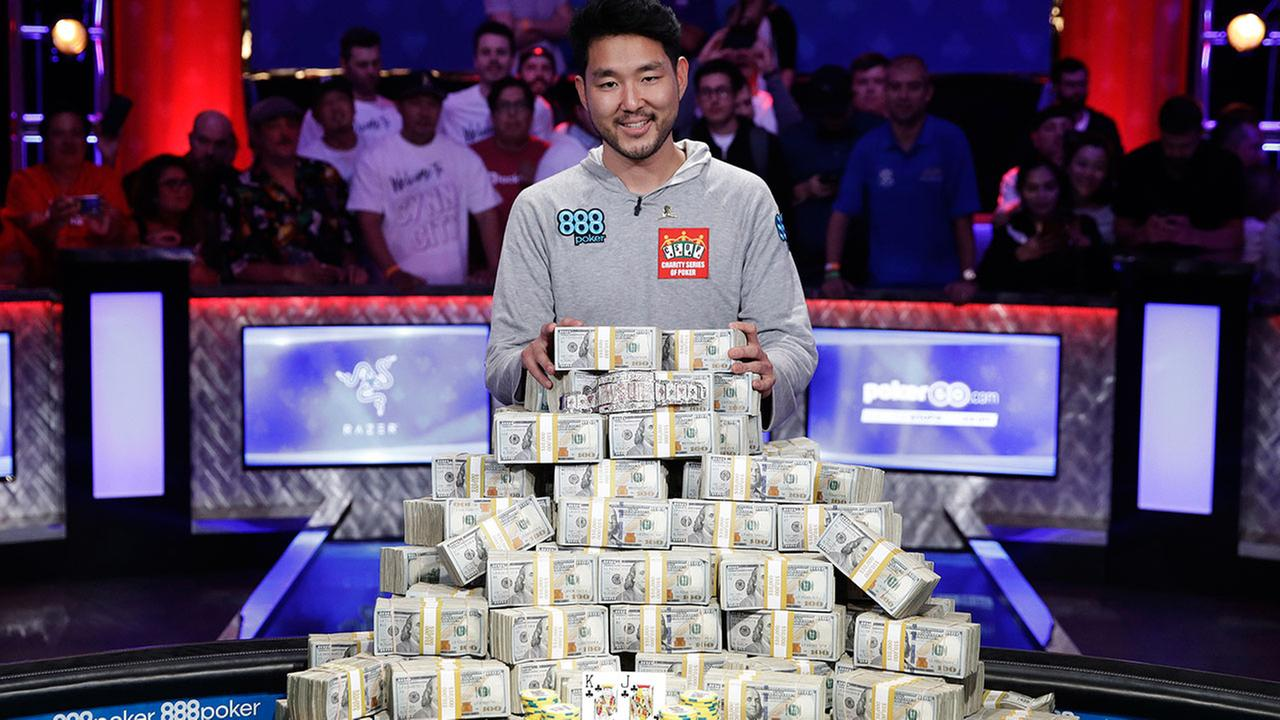 John Cynn won $8.8 million in the World Series of Poker main event on Sunday, July 15, 2018 in Las Vegas.