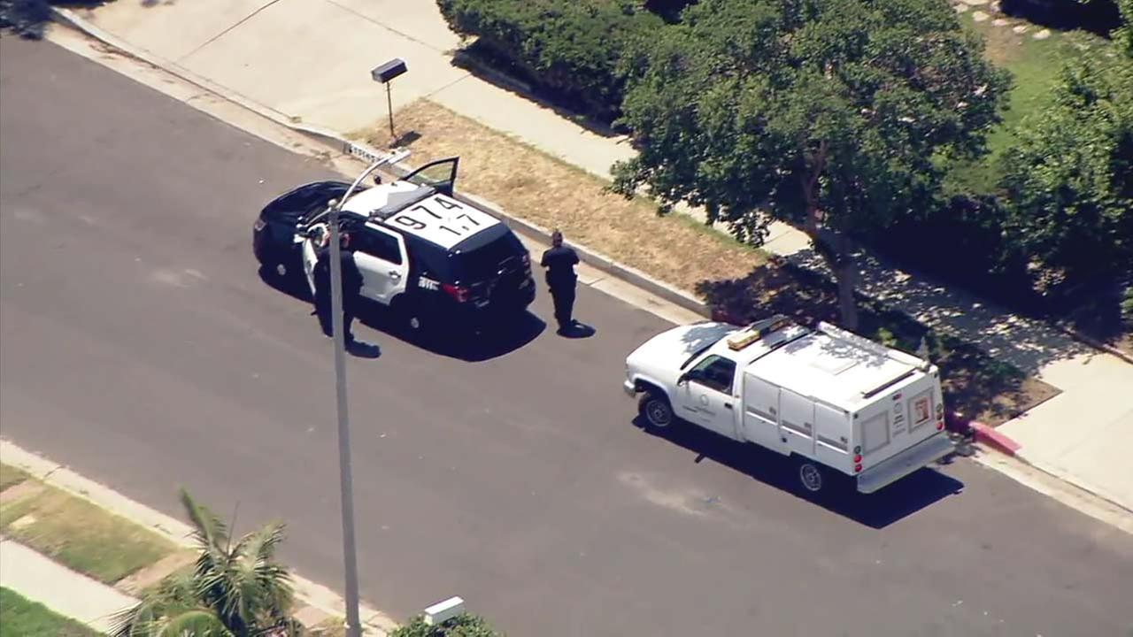 Law enforcement and Animal Control officials respond to a Granada Hills neighborhood following a report of a bear sighting on Tuesday, July 17, 2018.