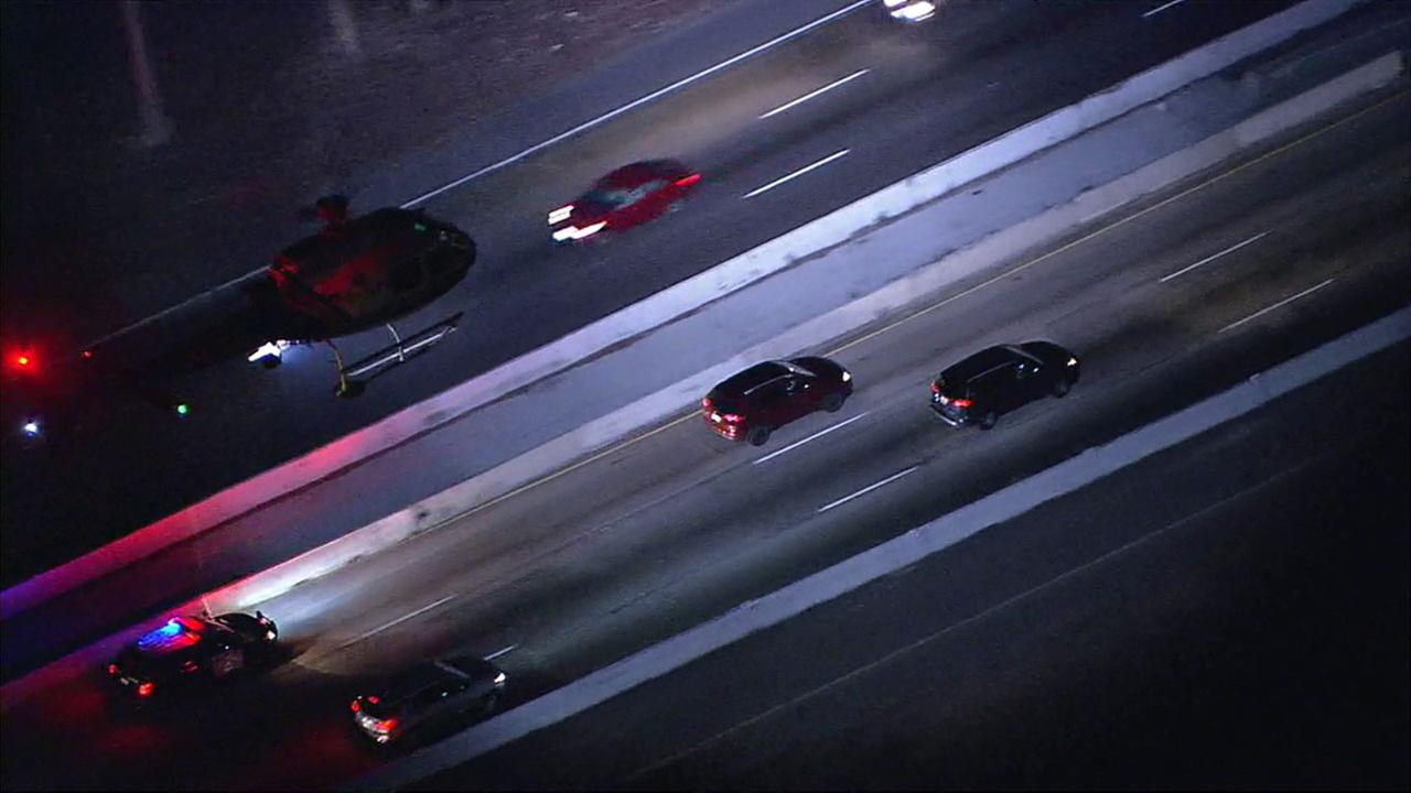 California Highway Patrol officers chase a suspect on the northbound 5 Freeway in Los Angeles County after it started in San Diego County.