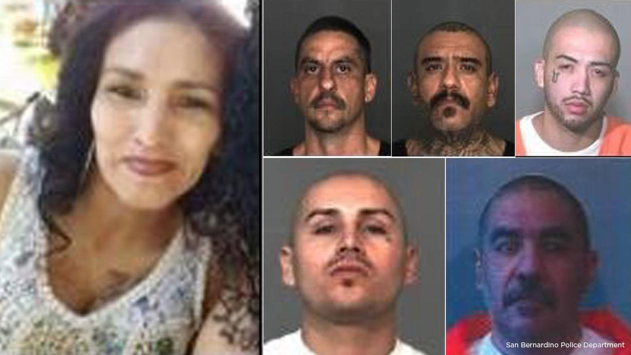 Photos released by San Bernardino police of shooting victim Carmen Rodriguez (left) and five suspects believed to be connected to her murder.