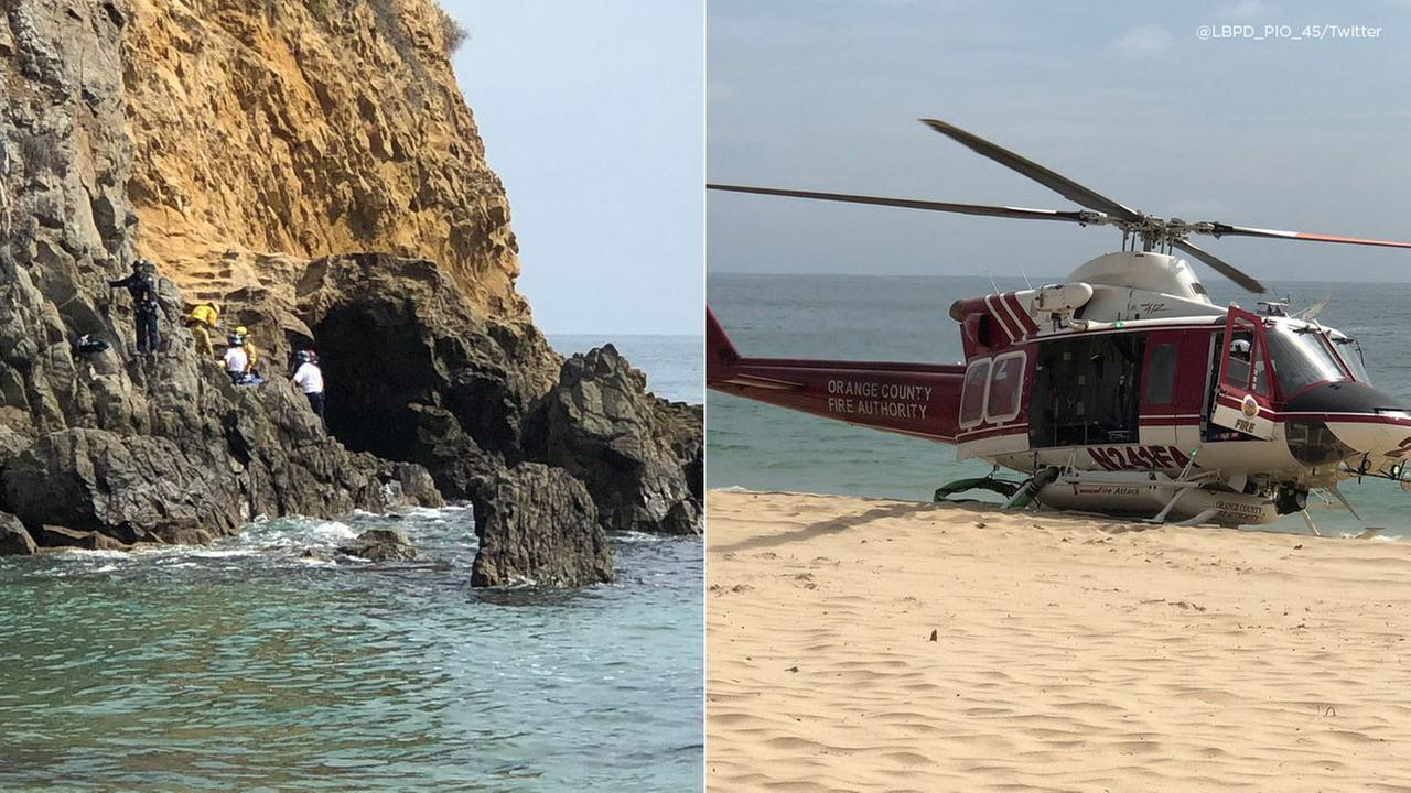 Photos show the rescue of a teenager whose arm was severed while trapped under a rock about 100 feet off shore of the Emerald Bay area of Laguna Beach on Wednesday, July 18, 2018.