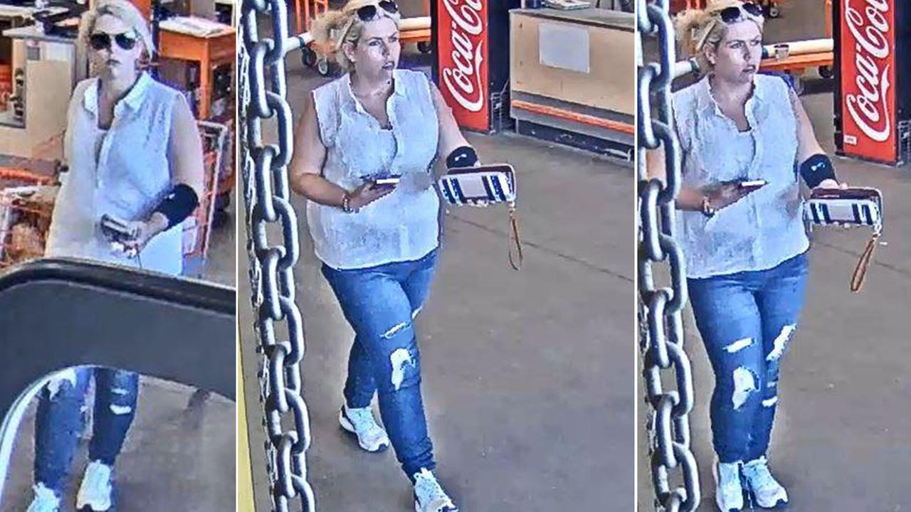 A woman suspected of breaking into a locker, stealing a victims belongings and their car at a Glendale gym is shown in surveillance photos.