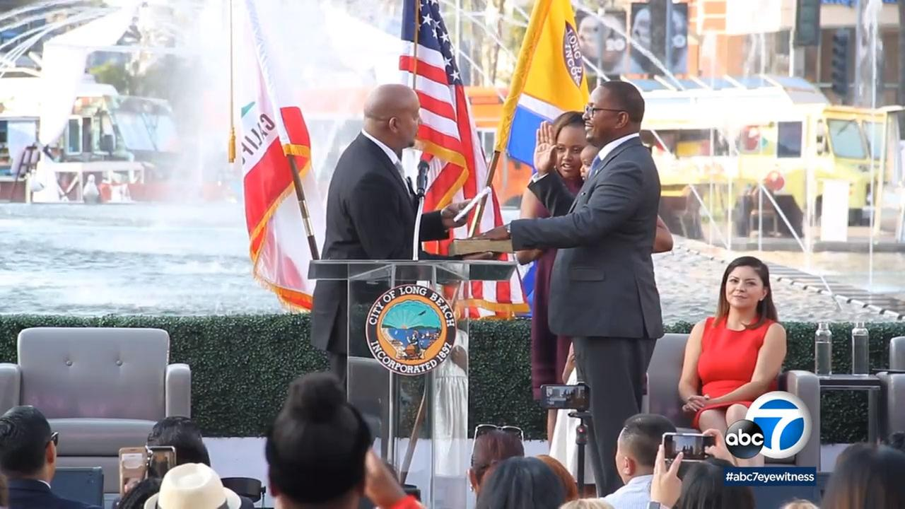 Long Beach city council members and the mayor were sworn into office recently.