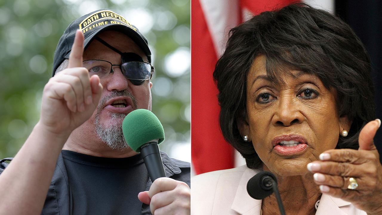 L: Stewart Rhodes, founder of the Oath Keepers, speaks in Washington, June 25, 2017. R: Rep. Maxine Waters is seen in a June 27, 2018 file photo.