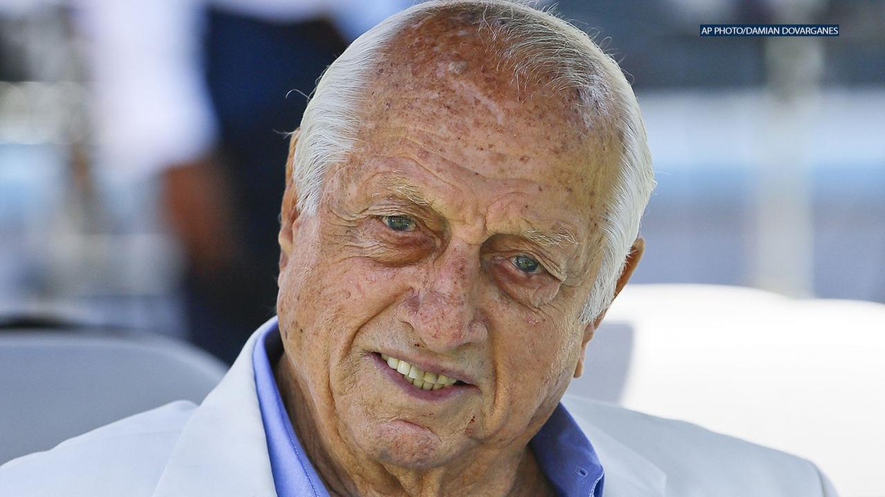 Lasorda received a lifetime achievement award at Dodger Stadium during the 37th annual Dodger Salute sponsored by the Hollenbeck Police Business Council and the Inner City Games.