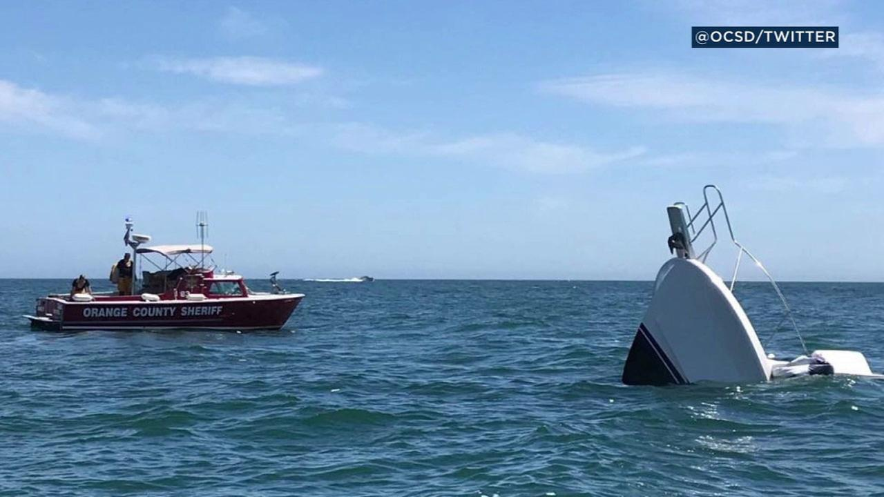 After Orange County Sheriffs Harbor Patrol successfully evacuated all passengers, the damaged vessel could not be saved by additional rescue boats and sank.